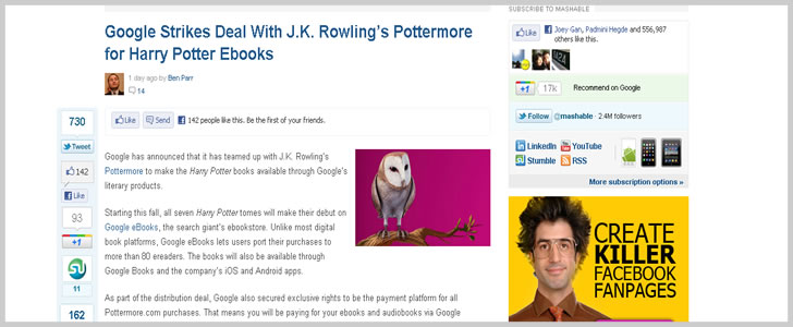 Google Strikes Deal With J.K. Rowling's Pottermore for Harry Potter Ebooks