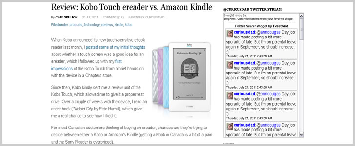 Review: Kobo Touch ereader vs. Amazon Kindle - Parenting: Curious Dad
