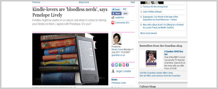Kindle-lovers are 'bloodless nerds', says Penelope Lively | Books | guardian.co.uk