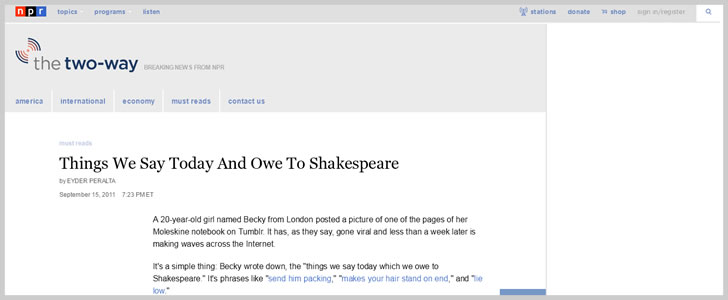 Things We Say Today And Owe To Shakespeare