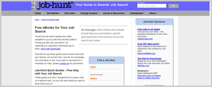 Job-Hunt Quick Guides - Free Help with Your Job Search