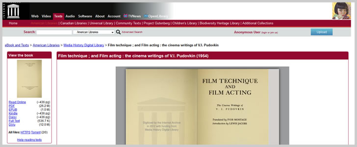 Film Technique ; and Film Acting : The Cinema Writings of V.I. Pudovkin
