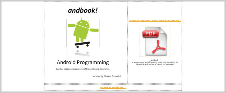 Andbook: Android Programming - Based on codes & experiences of the anddev.org-Community by Nicolas Gramlich
