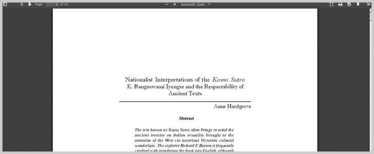 Nationalist Interpretations of the Kama Sutra K. Rangaswami Iyengar and the Respectablity of Ancient Texts by Anne Hardgrove