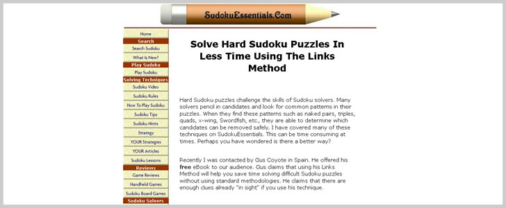Links Method - Solve Hard Sudokus in Less time by Gus Coyote