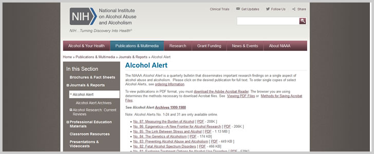 Alcohol Alert by National Institute on Alcohol Abuse & Alcoholism