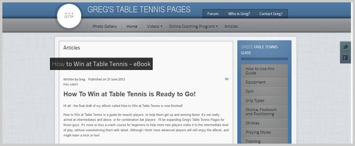How to Win at Table Tennis by Greg Letts