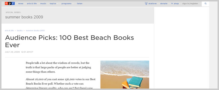 Audience Picks: 100 Best Beach Books Ever