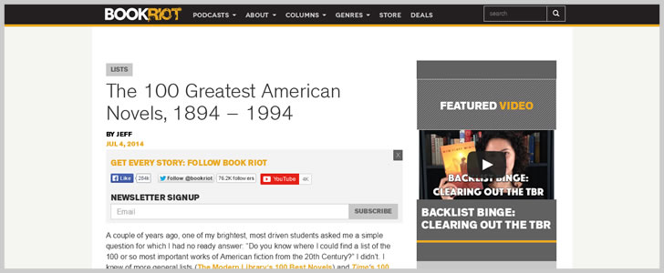 The 100 Greatest American Novels, 1894 - 1994 - Book Riot
