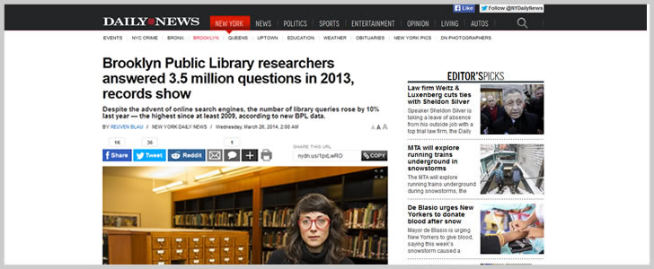 Brooklyn Public Library researchers answered 3.5 million questions in 2013