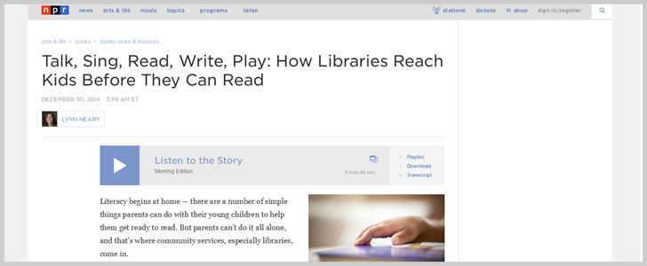 Talk, Sing, Read, Write, Play: How Libraries Reach Kids Before They Can Read