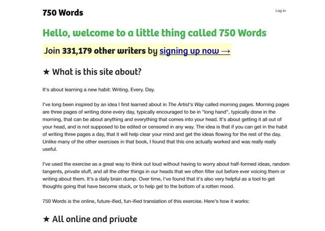 Visit the site - 750words