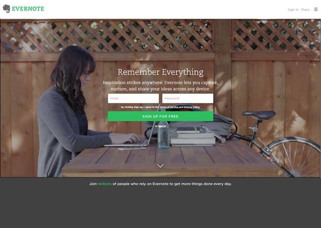 Visit the site - Evernote