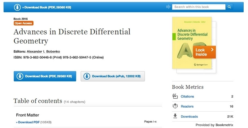 Advances in Discrete Differential Geometry by Alexander I. Bobenko