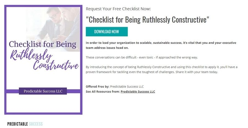 Checklist for Being Ruthlessly Constructive by Predictable Success LLC