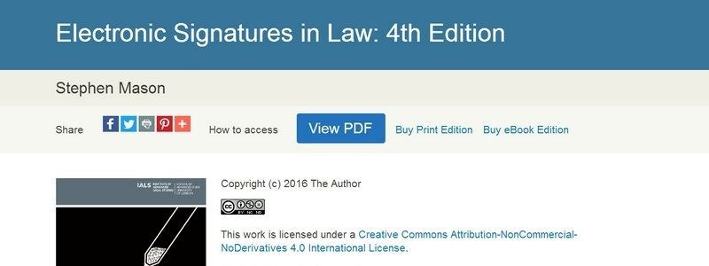 Electronic Signatures in Law: 4th Edition by Stephen Mason