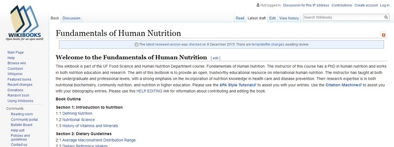 Fundamentals of Human Nutrition  by Wikibooks.org