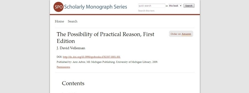The Possibility of Practical Reason by J. David Velleman
