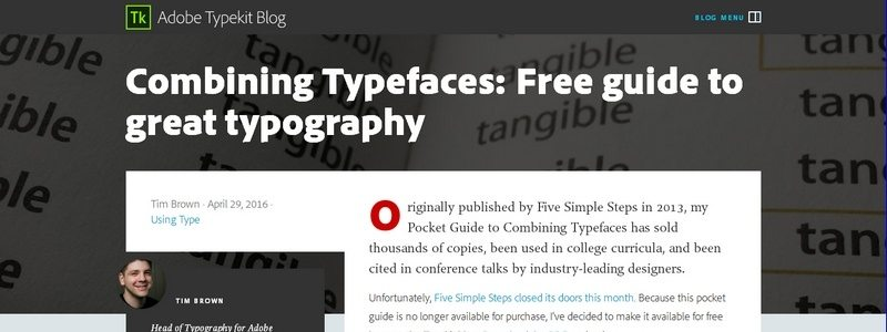 Combining Typefaces: Free guide to great typography by Tim Brown