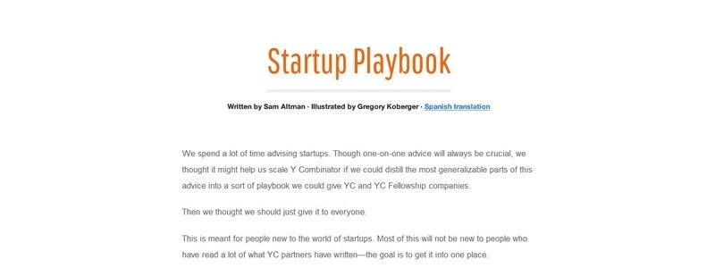 Startup Playbook by Sam Altman