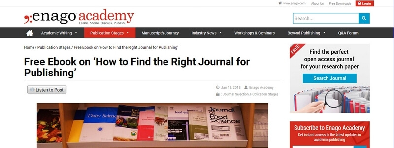 How to Find the Right Journal for Publishing by Enago Academy