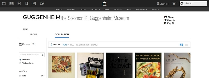 204 Free Art Books from the Solomon R. Guggenheim Museum by various authors