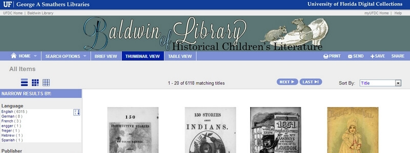 Over 6,000 Free Historical Children's Books by Florida Baldwin Library archive