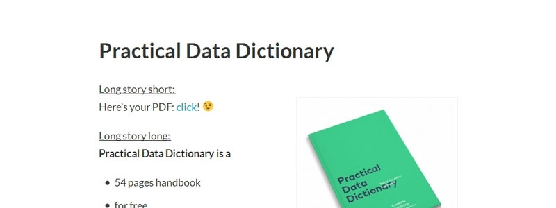 Practical Data Dictionary by Tomi Mester