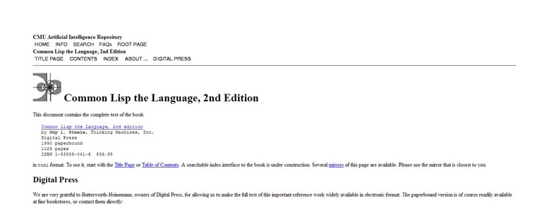 Common Lisp the Language: 2nd Edition by Guy L. Steele