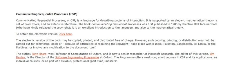 Communicating Sequential Processes (CSP) by Tony Hoare