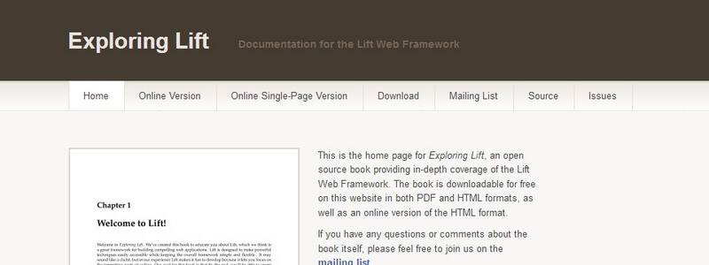 Exploring Lift: Documentation for the Lift Web Framework by Derek Chen-Becker, Marius Danciu, and Tyler Wier