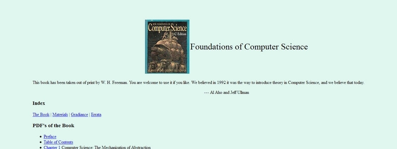 Foundations of Computer Science  by Al Aho and Jeff Ullman