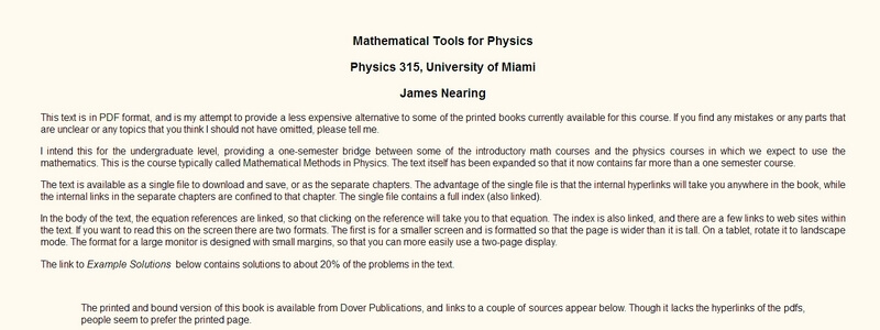 Mathematical Tools for Physics by James Nearing
