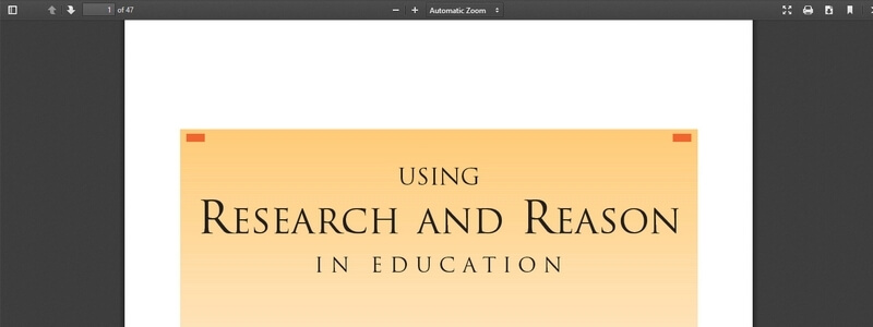 Using Research And Reason In Education by Paula J. Stanovich and Keith E. Stanovich