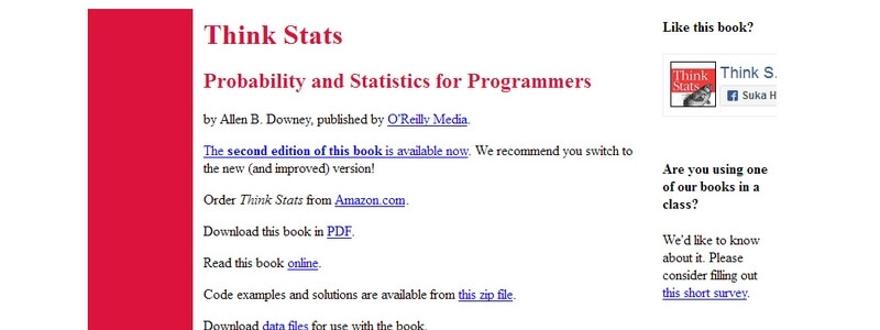 Think Stats: Probability and Statistics for Programmers by Allen B. Downey