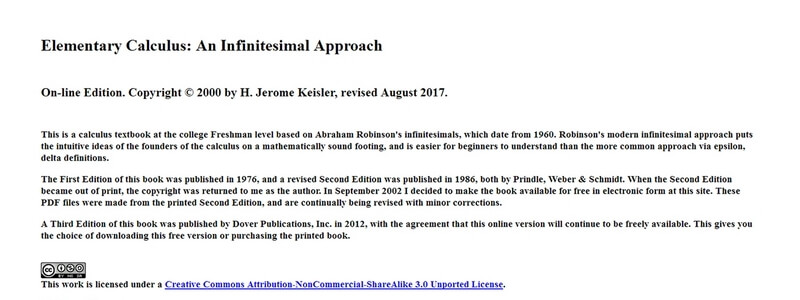 Elementary Calculus: An Infinitesimal Approach by H. Jerome Keisler