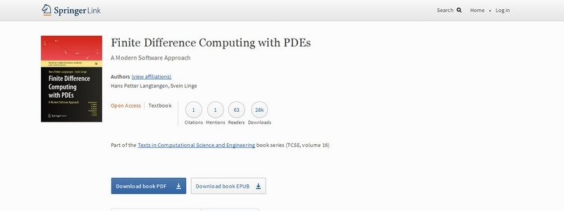Finite Difference Computing with PDEs: A Modern Software Approach by Hans Petter Langtangen, Svein Linge