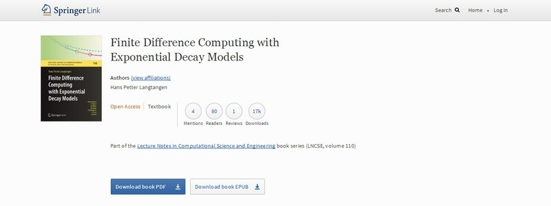 Finite Difference Computing with Exponential Decay Models by Hans Petter Langtangen