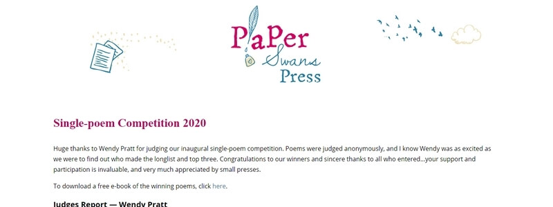 All Entries of 2020 Paper Swans Press Single Poem Competition