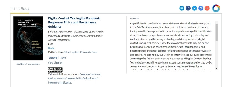 Digital Contact Tracing for Pandemic Response - Ethics and Governance Guidance