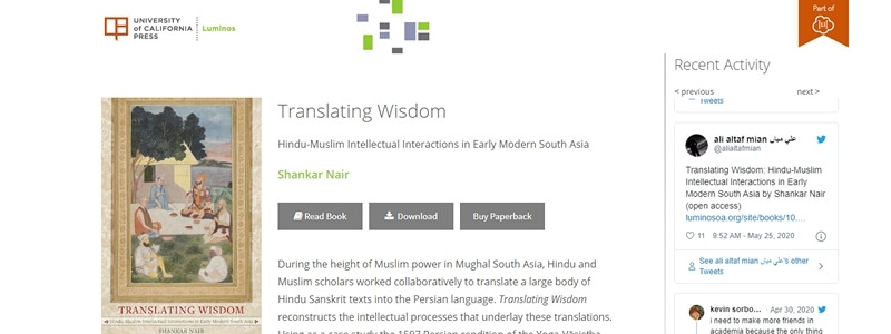 Translating Wisdom - Hindu-Muslim Intellectual Interactions in Early Modern South Asia